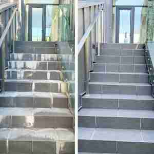 pressure washing building entry before and after photo
